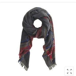 J Crew Gray wool plaid scarf